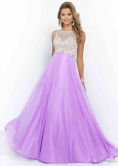 2015 Open Back Orchid Illusion High Neck Beaded Evening Dress