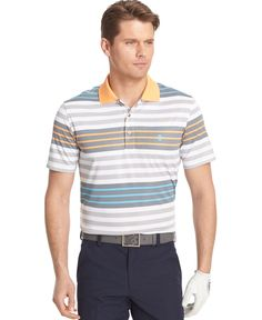 IZOD Men's Short Sleeve Surfs Up Stripe Polo: Short sleeve striped golf polo Mens Striped Sweater, Mens Polo T Shirts, Surfs Up, Golf, Mens Fashion, Polo Online, Tees, Stripes, Mens Tops