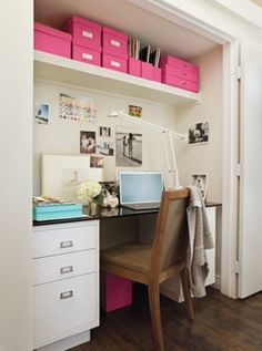 Suzie: via Desire to Inspire  An office in a closet?  Love!  The Container Store pink file ...