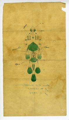 Cartier Emerald Brooch Drawing