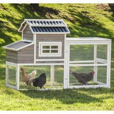 Features:  -Sized to accommodate four hens, assuming they are free-ranged during the day. If you are not able to give your chickens access to your yard during the day, they recommend keeping only two