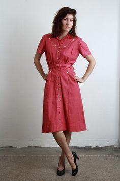 Vintage Western Dress  Pink Cowgirl