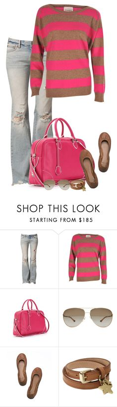 """""""PINK!"""" by partywithgatsby ❤ liked on Polyvore featuring Free People, Crumpet, Marc Jacobs, STELLA McCARTNEY, Tory Burch, Mulberry, ripped jeans, top handle bags, ballet flats and aviator sunglasses"""