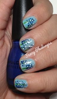 Pretty Flower Nail Art Designs - Perfect for Spring and Easter! Texas Blue Bonnets