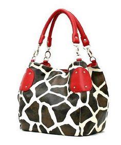 Faux leather giraffe print hobo bag