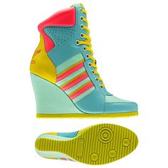 adidas Wedge Hi Shoes. The Jeremy Scott Wedge Hi by adidas Originals turns a colorful hi top sneaker into a sexy neon high heel that's ready for summer.