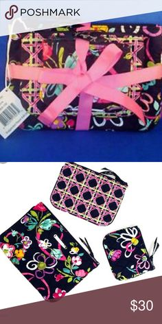 Vera Bradley cosmetic trio in ribbons This is a brand new with tags Vera Bradley cosmetic trio in ribbons. 3 different sized zip too cosmetic bags gives you every size you would need. Vera Bradley Accessories