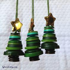 Button Christmas tree ornaments - set of 3. $15.00, via Etsy.