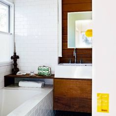 white subway tiles + wood | housetohome