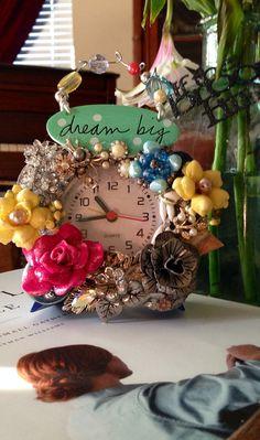 Vintage Brooch Clock   on Etsy, $40.00