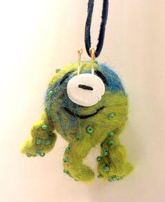 little wet felted monster pendant (No1)