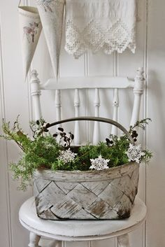 white basket with red berries to put on front porch