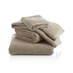 Ribbed Sand Bath Towels    Crate and Barrel