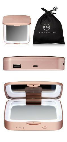 Mai Couture The Beauty Charger | The brand's new Beauty Phone Charger not only provides a reliable and portable charging system for a variety of cell phones, it also contains a magnifying LED mirror and a 5x magnifying mirror—perfect for on-the-go spot checks.