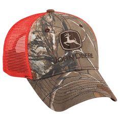 Men's John Deere Hat/Cap (Hunters Orange Mesh & Camo) - www.greentoysandmore.com
