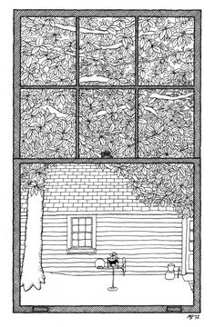 Matteo Pericoli draws what John Jeremiah Sullivan describes. Windows on the World is a series on what writers from around the world see from their windows. Pen Sketch, Sketches, Service Assiette, Old Garage, Protest Art, Bicycle Print, Drawing Projects, Window View, Traditional Paintings