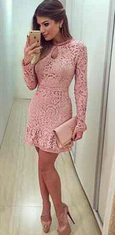Lace dress,pink Prom Dress,Sexy lace party dress,Elegant short