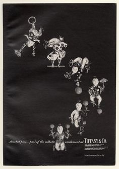 1968 Tiffany's jewelry jeweled acrobat pins photo vintage print ad