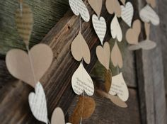 Paper Heart Garland from Vintage Book Pages and Kraft Paper, wedding garland, vintage wedding decor. $7,00, via Etsy.