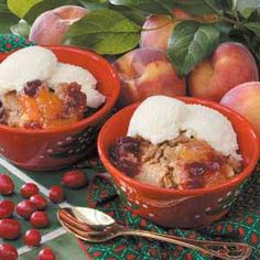 Holiday Cranberry Cobbler Recipe -For a change of pace from pumpkin pie, I prepare this merry berry cobbler at Christmas. Our children, grandchildren and great-grandchild all enjoy it.