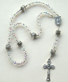 Sparkling Iridescent Rosary - Catholic Prayer Beads. I have to learn how to make these!