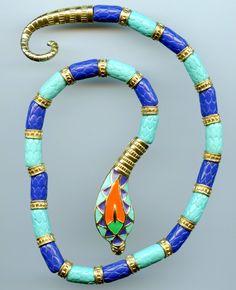 Vintage Hattie Carnegie Egyptian Revival Enamel Cobra Choker