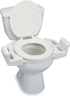 "Reversible Toilet Transfer Seat - ""Arms up"" position to help user go from sit/stand more easily. ""Arms down"" position creates a transfer bench for those unable to come to a stand. $72"