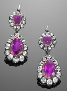 19th Century Natural Burma Ruby and Diamond Cluster Night and Day Pendant Earrings. 2 oval natural burma rubies appx. 1.00ct. 2 pear shape natural burma rubies appx. 4.00cts. 48 old mine diamonds appx. 3.00cts. Bottom Drops are detachable.