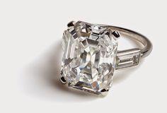 Engagement Ring worn by Princess Grace of Monaco. Cartier Paris, 1956. Platinum, one 10.48-carat emerald-cut diamond, two baguette- cut diamonds. Palais Princier de Monaco