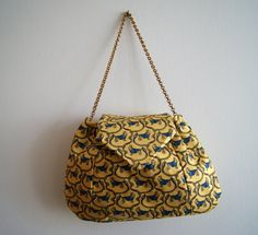 Recycled Tie Bag yellow by knittingcate on Etsy, $48.00