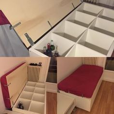 The IKEA Kallax collection Storage furniture is an important part of any home. Elegant and wonderfully easy the rack Kallax from Ikea , for example. Ikea Hackers, Ikea Kallax Hack, Custom Couches, Ikea Regal, Kallax Regal, Ikea Shelves, Bedroom Shelves, Bedroom Storage, Home Projects