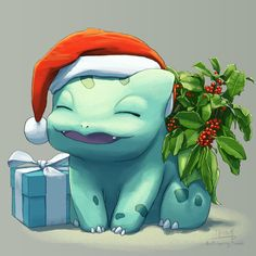 """butt-berry: """"Ready for christmas """" It was a christmas sweater! butt-berry: """"Ready for christmas """" It was a christmas sweater! Pokemon Go, Bulbasaur Pokemon, Kalos Pokemon, Pokemon Tumblr, Pikachu, Pokemon Fan Art, Pokemon Red Blue, Christmas Drawing, Christmas Art"""