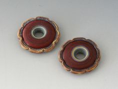 Rustic Ruffle Discs  2 Handmade Lampwork Beads  Red by outwest