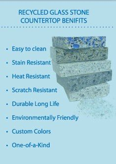 Recycled Glass countertops from Greenfield stone