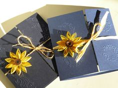 Sunflower and navy blue wedding invitation / Sunflower wedding invitation on Etsy, $3.10
