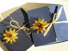 Sunflower and navy blue wedding invitation / Sunflower wedding invitation on Etsy, $3.10