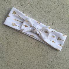 arrow top knot, arrow headband, gold arrow headband, arrow turban, knotted headband, arrow hair bow, baby hair accessories,…