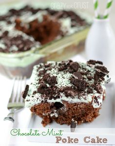 Chocolate Mint Better Than...Poke Cake by www.crazyforcrust.com | A chocolate poke cake infused with mint! #cake #mint