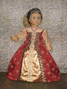 Elizabethan Gown for your American Girl doll by CarmelinaCreations, $215.00