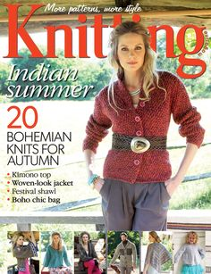 Knitting magazine issue 133, Autumn 2014. Indian summer: 20 bohemian knits for autumn. Plus Anenome stitch and Chanel Island cast-on techniques!