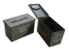 Used, genuine US-issued Caliber military ammo cans in varied conditions. Made of steel, they are stackable with drop-down handles and pressure-lock lids. Ammo Cans, Shooting Gear, Asia, Conditioner, Canning, Steel, Toys, Activity Toys, Clearance Toys