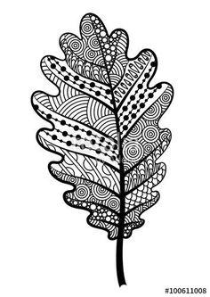 Zentangle Black And White Leaf Of The Tree Oak. Stock Vector – Illustration of isolated, botany: 65338729 Feuille de Zentangle en chêne noir et blanc. Black And White Leaves, White Leaf, Zentangle Drawings, Zentangle Patterns, Zentangles, Colouring Pages, Adult Coloring Pages, Leaf Coloring Page, Doodle Art