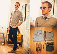 Heritage 1981 V Neck, Bdg French Bulldog Tie From Urban Outfitters, Lip Service Skinny Jeans From Buffalo Exchange, Ray Ban Clubmaster
