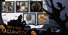 Mosaico do dia das Bruxas com 5 fotos