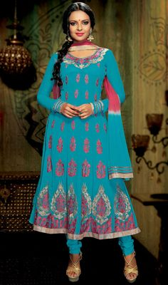 Cyan Blue Georgette Long Anarkali Suit Keep ahead yourself in sense of dressing with this cyan blue georgette long Anarkali suit. The gorgeous multi, patch, resham and stones work a substantial characteristic of this dress. #ChuridarKameezDupatta #BuyWomenChuridarKameez