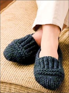 'Ruggedly Warm Loafers' knitting pattern -- Extra-thick and richly textured, these ribbed slippers will keep the chill of winter floors at bay This e-pattern was originally published in Knit a Dozen Plus Slippers. unisex S through L. Made with super bul.