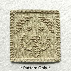 """This cute puppy dog face pattern will make a cloth about 8.5"""" x 8"""". Original design by Aunt Susan's Closet."""