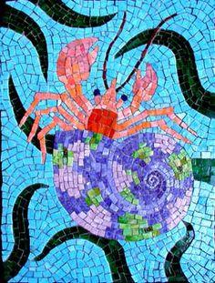 """Hermit Crab"" contemporary mosaic art by Joe Moorman at Riverson Fine Art Mosaic Tile Art, Mosaic Crafts, Mosaic Projects, Mosaic Glass, Glass Art, Stained Glass, Mosaic Ideas, Tile Ideas, Art Ideas"