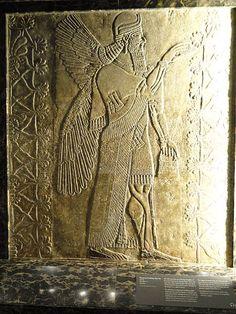 IMPERIO ASIRIO: Genio alado fertilizando una palmera datilera, relieve procedente del palacio de Assurnassirpal II en Nínive (s. IX a.C.)