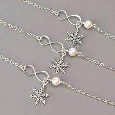 Great bridesmaid gifts for your winter wonderland wedding. Bridesmaid Bracelet SET OF 6 15% OFF Sterling by MyDistinctDesigns, $150.45